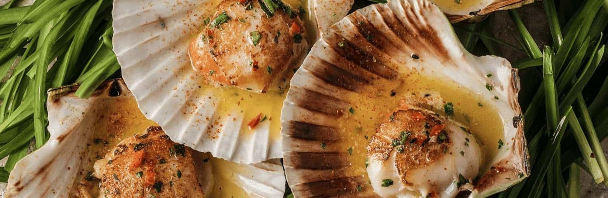 Fresh Scallops in Half Shell with guanciale & pangrattato