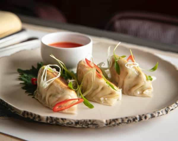 Tofu and shiso gyoza with sweet chilli dipping sauce
