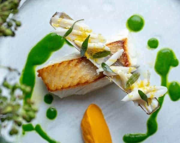 Main course of Isle of Gigha halibut with spiced carrot and steamed razor clams
