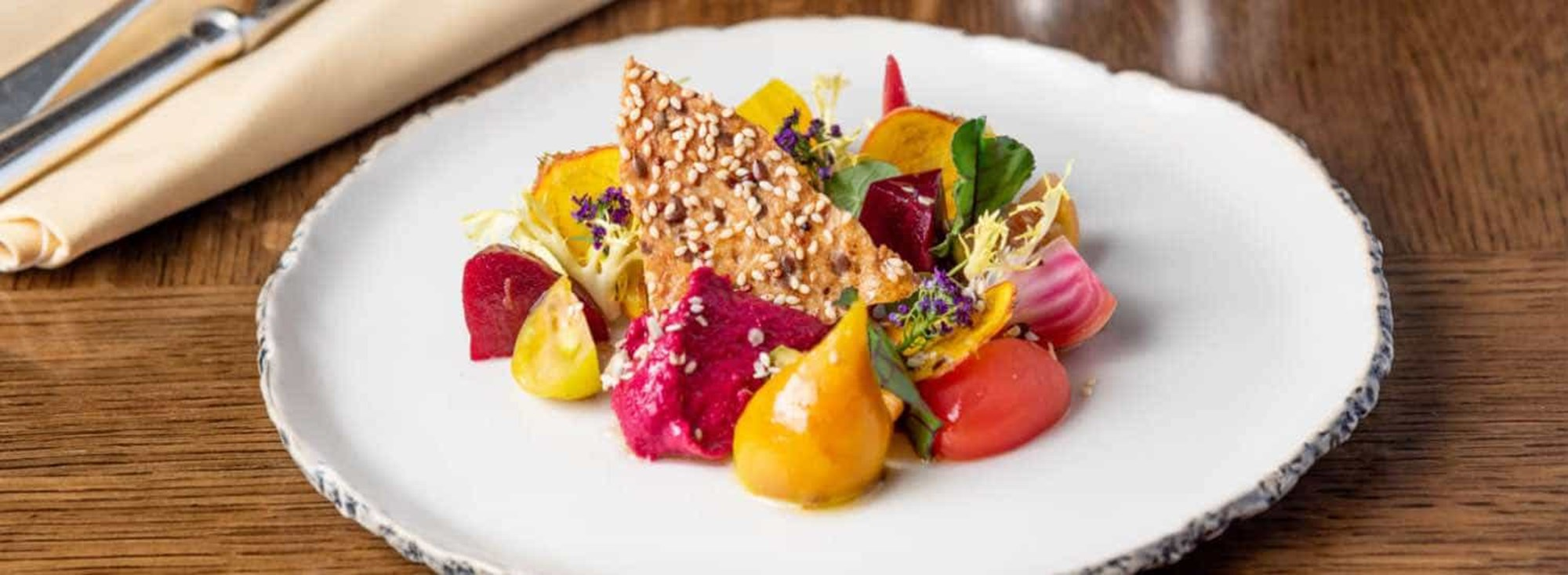 Very Colourful Mixed Beetroot Salad, Goats Curd & Beetroot Hummus